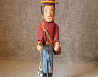 Folk Art Male Figure , Male Portrait , Male Figure , Fishing , Wood Carving , Male Carving , Americana , Primitive , Fisherman , Folk Art