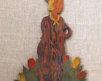 Garden Decor , Folk Art , Primitive , Male Portrait , Dutch Boy , Handmade , Folk Art Figure , Wall Decor , Plaque , Lawn and Garden
