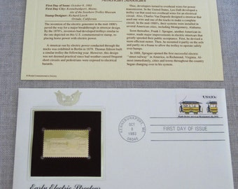 First Day Issue , Stamp , American Streetcars , Gold Stamp , Commemorative Stamp , Postage Stamp , Collectible , Stamp Collecting , Stamps