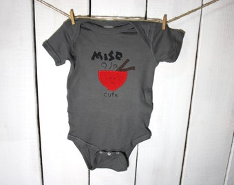 "baby bodysuit ""MISO CUTE"", cute Japanese miso soup inspired, fun and unique baby shower gift"