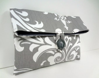 READY TO SHIP Premier Prints Ozborne Damask Makeup Bag Clutch Purse Modern Wedding Bridal Clutch Damask Wedding Storm Gray Bag
