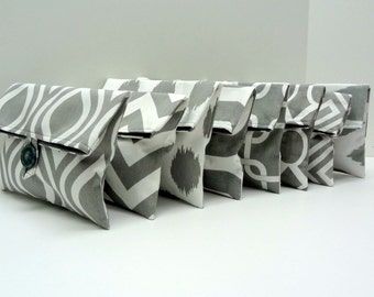 READY TO SHIP -  Set of 8 Gray Bridesmaid Clutches Gray and White Makeup Bags