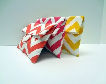 Chevron Clutch Set of 3, Foldover Makeup Bags, Yellow Hot Pink Coral Chevron - READY TO SHIP