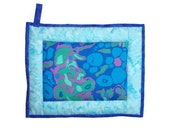 """Oversized Quilted Pot Holder / Hot Pad -- Blue, Green and Purple """"Amoeba"""" Fabric with Light Blue Borders"""