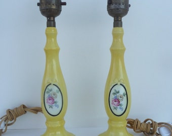 Vintage Lamps German Yellow Floral Porcelain China Shabby Cottage Boudoir Pair