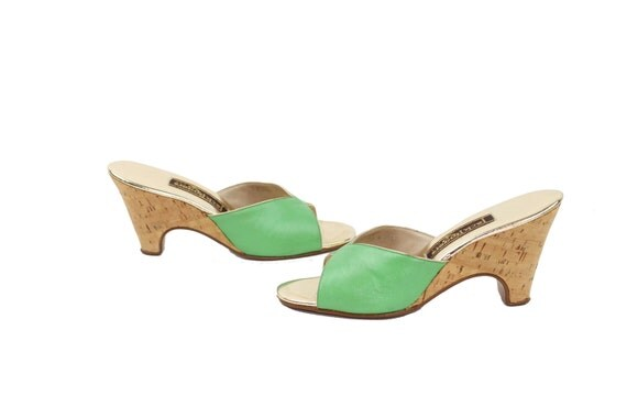 70s Wedge Mules Pumps Heels 7 Lime Green Mod Bow Top Cork Heels Womens Shoes Vintage 1970s