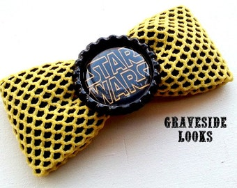 Star Wars Inspired Yellow Fishnet Hair Bow