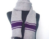 Hand knitted man scarf, extra long scarf, Silver grey and deep purple, made to order