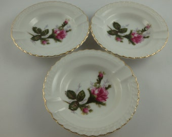 Vintage Set of 3 Individual Miniature Personal Ashtrays, Stackable, Porcelain with Roses and Gilt Edging