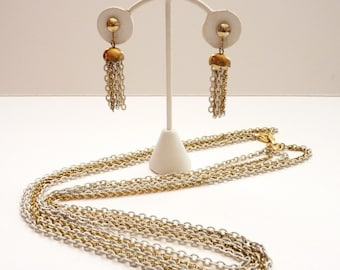 Vintage Hobe 5 Strand White and Gold Necklace and Tassel Earring Set
