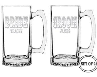 2 PERSONALIZED BEER MUGS Bride & Groom Etched Beer Mugs Wedding Gift Engraved Beer Mugs Toasting Glasses Tall Cocktail Glass Etched Beer Mug