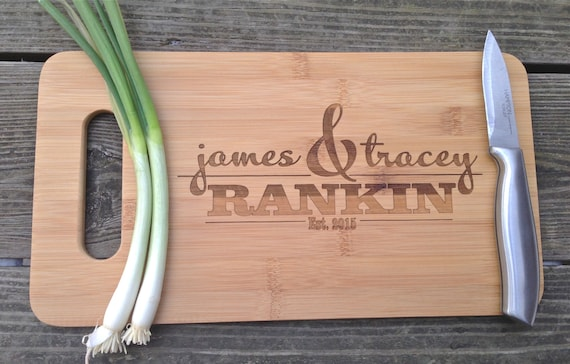 Personalized Cutting Board - Custom Engraved Monogram Wooden Cutting Board 14 X 7.5 Monogramed Wedding Gift House Warming Gift Wooden Board