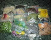 DESTASH, large lot of wool roving, many colors and textures