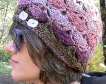 Crocheted Beanie in Shades of Grape and Berry