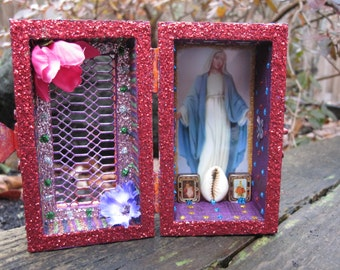 Virgin Mary mini nicho, Ayida Weddo shrine, voodoo, Catholic altar, folk art