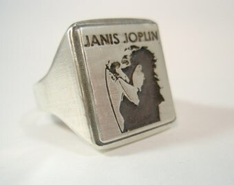 Woodstock 27 club Ring Solid Sterling Silver 925 Portrait art Souvenir fan