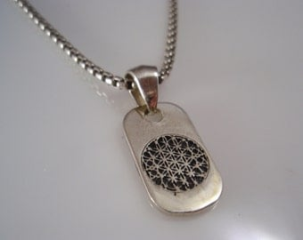 ezi zino Flower of Life dog tag & box chain necklace Pendant sterling silver 925