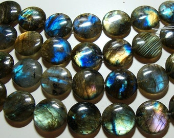 Flashing Firey Blue Green Gold Flash Labradorite Smooth Coin Beads, 16mm, 1/4 strand