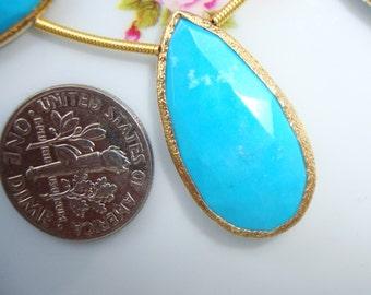 NATURAL Blue Turquoise Faceted Pear Briolette Vermeil Sterling Silver Texture Bezel Rim Connector Link Pendant, 1 pc