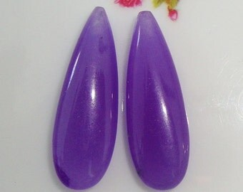 Purple Jade Smooth Teardrop Briolette, Elongated Teardrop Pear Briolette, one pair, 10x30mm, AAA Quality - Designer Pieces