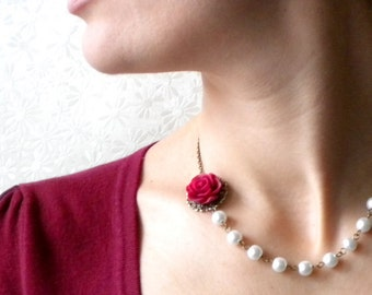Burgundy Necklace Pearl Bridesmaid Necklace Rose Wedding Jewelry Flower Bridal Necklace Burgundy Bridesmaid Jewelry Maid Of Honor Necklace