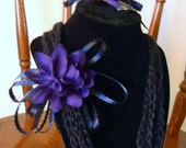 Black crocheted chain necklace with matching hair comb//hair accessories//jewelry//gift for her