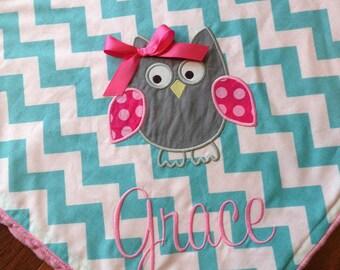 Personalized Baby Blanket- Minky Baby Blanket- Chevron Baby Blanket- Applique Baby Blanket- Owl Baby Blanket
