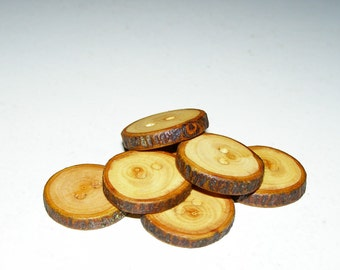 "7 Handmade apple wood Tree Branch Buttons with Bark, accessories (1,02"" diameter x 0,20"" thick)"