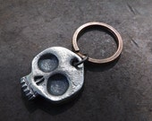 Hand forged Skull keychain - one of a kind gift