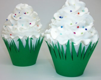 Green Grass  Cupcake Wrappers Completely Assembled