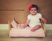 Pink Argyle Ruffle Baby Blanket Newborn Photo Props - Ruffle Quilt with Pillow for baby girl