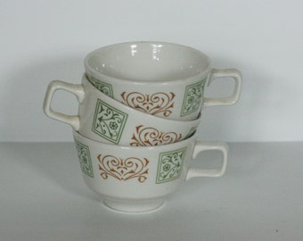 vintage green and brown floral motif homer laughlin coffee cups set of three