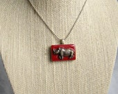 Upcycled & Altered Vintage Silver Rhino Game Tile Necklace