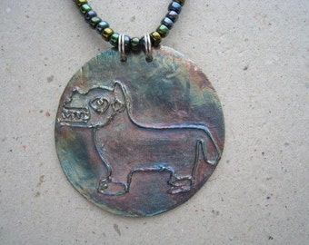 Artifact Inspired Oxidized Fine Silver Llama Disk on Beaded Necklace