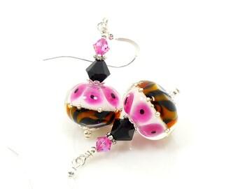 Animal Print Earrings, Lampwork Earrings, Glass Earrings, Glass Bead Earrings, Beadwork Earrings, Leopard Print Jewelry, Lampwork Jewelry
