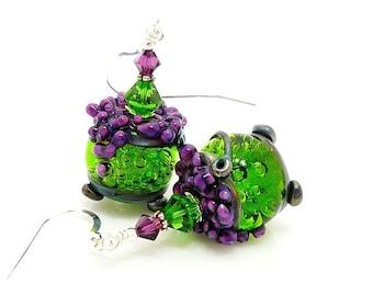 Green & Purple Bubbling Cauldron Earrings, Halloween Earrings, Lampwork Earrings, Glass Earrings, Halloween Jewelry, Witch Earrings