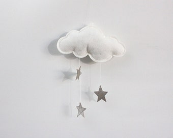 Wall Hung Cloud with Silver Stars and White Felt - fabric mobile sculpture for modern baby nursery decoration- Free US Shipping