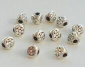 4mm Fine Silver Karen Hill Tribe Triangular Spacer Beads 12 pcs. HT-115
