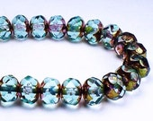 Czech Glass Beads 6 x 8mm Light Blue with Brass Picasso Faceted Rondelles 10 Pcs. RON8-008
