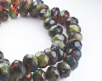Picasso Czech Glass Beads 6 x 8mm Amber with Green and Blue Picasso Finish Rondelles 10 Pcs. RON8-205