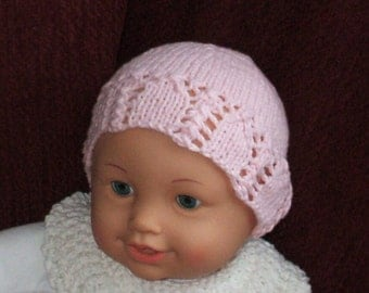 Pink Lace Cap hand knit in super soft 80 percent cotton and 20 percent polyester to fit new baby