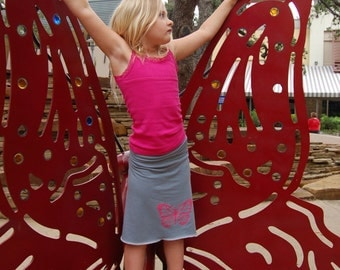 Organic Stone Blue Soy Fabric with Pink Butterfly Silkscreened Yoga Skirt