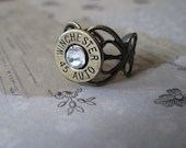 45 Auto Crystal and Heart Filigree Bullet Ring