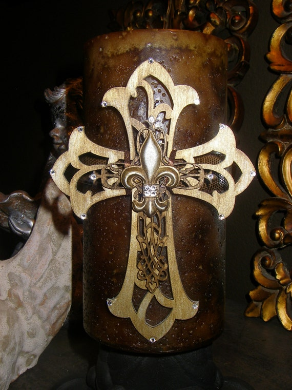 Leather Candle Wrap with Layered Wooden Crosses Encrusted in Swarovski Crystals