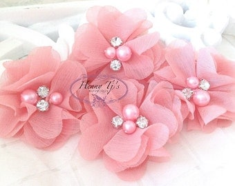 NEW: 4 pcs Aubrey LIGHT CORAL  - Soft Chiffon with pearls and rhinestones Layered Small Fabric Flowers, Hair accessories