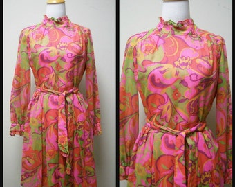 Vintage 1960s Bright Multi Colored Floral Print Long Sleeved Dress Size S