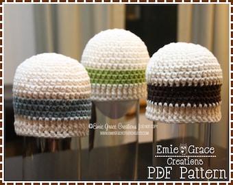 Crochet Beanie Pattern, Stripe Cap, AIDEN - pdf 312