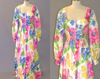 Vintage 1970s Floral Watercolor Print Maxi Dress, 70s Tropical Party Dress, Small