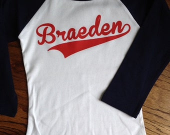 Personalized baseball shirt- white with navy sleeves-youth/kids