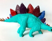 Hand Painted Teal Green Blue Stegosaurus Dinosaur Toy Collectible Figurine